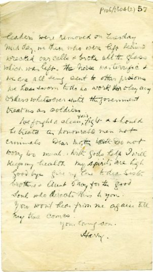 Second page of copy of handwritten letter by Harry Boland in the Sighle Humphreys Papers UCDA P106