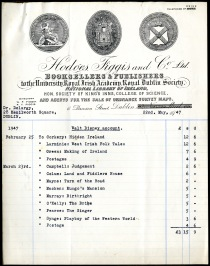 Receipt for books from Hodges Figgis, Dawson Street, Dublin 2, 1947