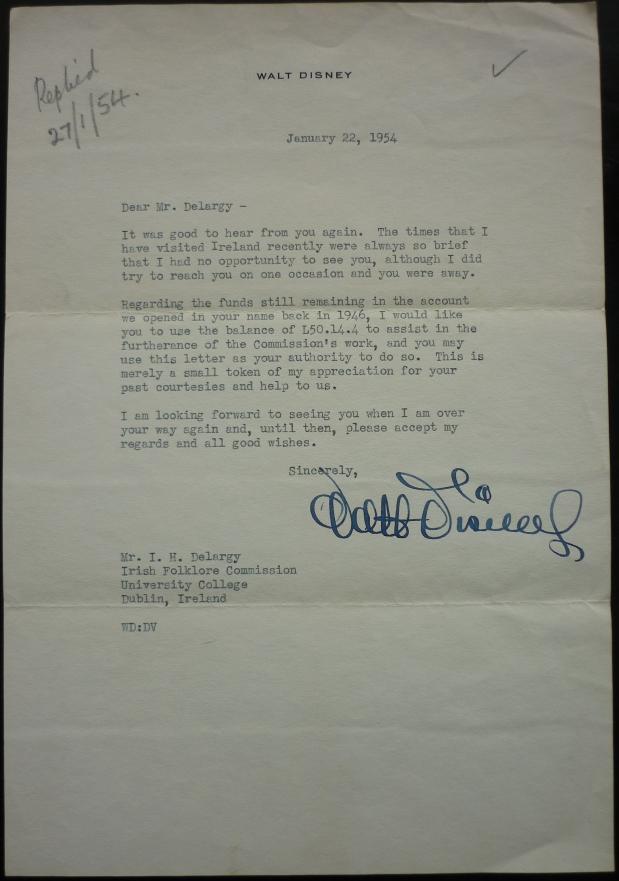 Walt Disney Correspondence to O Duilearga 1954
