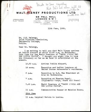 Walt Disney film premiere itinerary pg.1