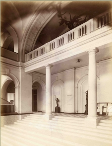 Foyer of the Royal College of Science for Ireland, Merrion Street with full Irish Elk skeleton visible on the mezzanine floor (UCD Special Collections)