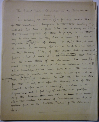 'The Scandinavian Languages in the Nineteenth Century' handwritten manuscript with comments