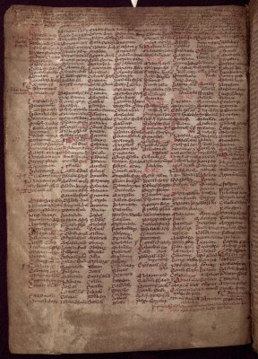 Page from the Martyrology of Tallaght, UCD-OFM MS A 3, p. 10 (https://www.isos.dias.ie/)