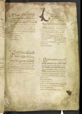 November 1st in the Martyrology of Óengus, UCD-OFM MS A 7, f. 39r (https://www.isos.dias.ie/)