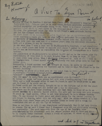 Article on visit to Ezra Pound (UCD Spec Coll KAV B 31(14b)