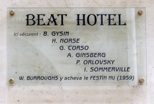 Plaque Beat Hotel,9 rue Gît-le-Cœur,Paris 6 (Creative Commons)