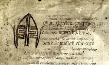 February 1st in the Martyrology of Óengus (UCD-OFM A 7, f. 8v www.dias.isos.ie)