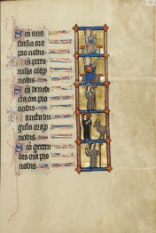 St Brigit of Kildare (fourth from top), MS Ludwig IX 3, f. 106 (Courtesy of J Paul Getty Museum)