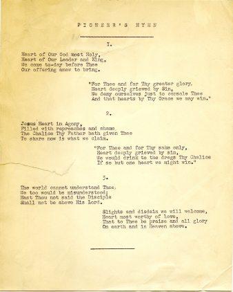 Lyrics of the 'Pioneer's Hymn' (UCDA P145/3)