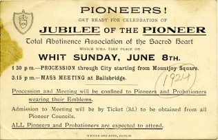 Leaflet advertising the PTAA's Jubilee, c1924 (UCDA P145/3)