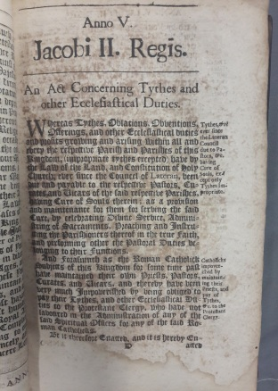 'An act concerning tythes, and other ecclesiastical duties'