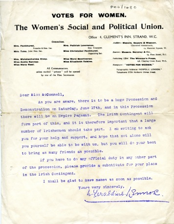 Letter from Geraldine Lennox to Mabel McConnell (UCDA P80/1480)