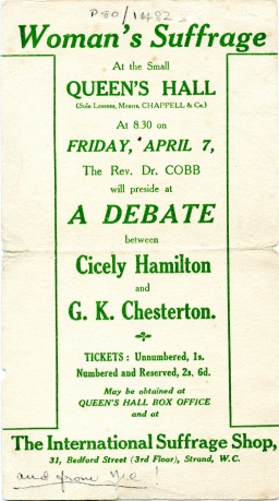 Flyer for 'Women's Suffrage Debate', c1910 (UCDA P80/1482)