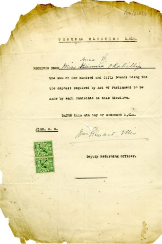 Anna O'Rahilly's proof of deposit paid to stand in the 1918 General Election (UCDA P106/215)