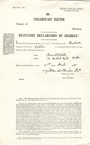 Anna O'Rahilly's Certificate of Secrecy (UCDA P106/215)