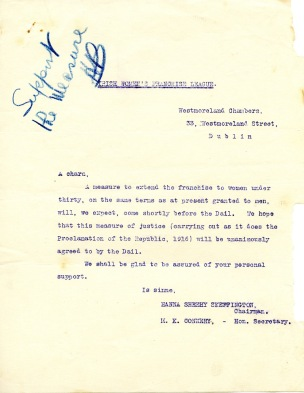 Letter from Hanna Sheehy Skeffington to Harry Boland (UCDA P150/1171) Reproduced by kind permission of UCD-OFM Partnership.