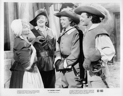 Promotional still from 'At Swords Point' (1952) O'Herlihy is second from right. Courtesy of IMDB.