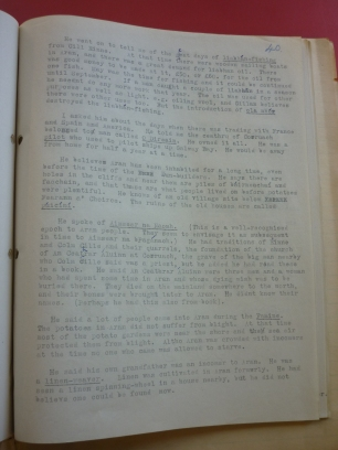 Field notes from Fearann an Choirce, Inishmore, Co. Galway, 1942 on weaving pg2