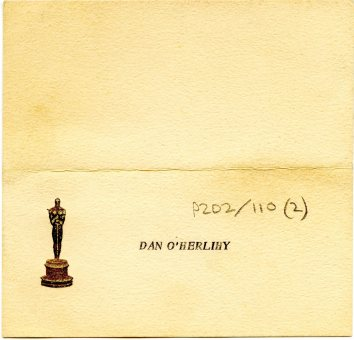 O'Herlihy's place card from the 1954 Oscars (UCDA P202/110)