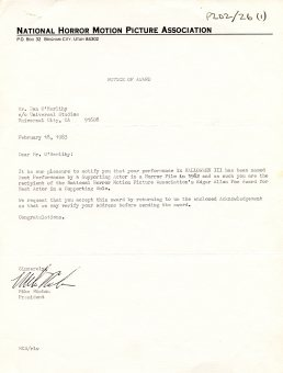 Letter awarding O'Herlihy the Best Supporting Actor Award by the National Horror Motion Picture Association (UCDA P202/26)