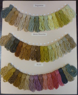 Wool samples dyed from twigs, barks and roots.