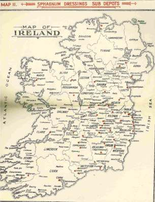 Map of Ireland showing sphagnum dressing sub depots