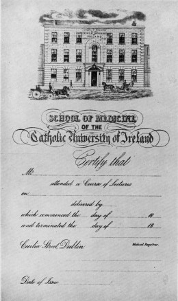 Certificate from the School of Medicine of the Catholic University of Ireland, Cecilia Street