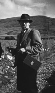 Kevin Danaher in the field, Duquin, county Kerry, 1946 [NFC] .