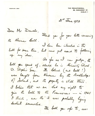 Letter from Brendan Lawless to Kevin Danaher, 21st June 1973 [NFC].