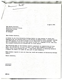 Letter of thanks from UCD President Dr Thomas Murphy to Reverend Diarmuid O'Riain, 3rd April 1975 [NFC].