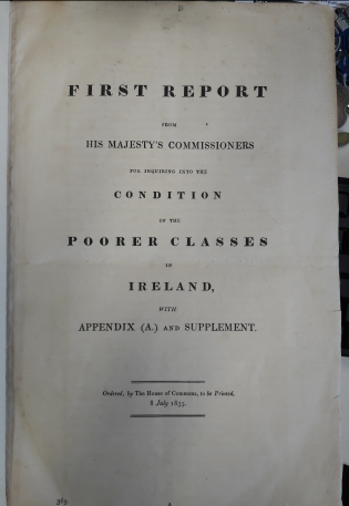 'First Report of Royal Commission on the Poorer Classes in Ireland', 8 July 1835