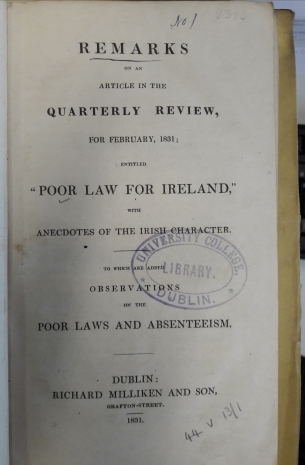 'Remarks on an Article entitled Poor Law for Ireland', February 1831