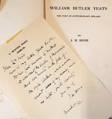 A letter from J.M. Hone to Yeats, March 1852.