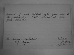 A family history index card referring to Jack McCabe