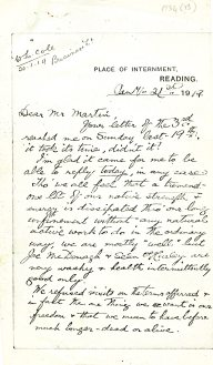 Letter by Cole while imprisoned in Reading Gaol, 21 January 1919 (UCDA P134/13/01)
