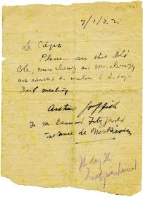 Note admitting Cole to the Dáil, 7 January 1922 (UCDA P134/33)
