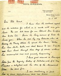 Letter written to Cole about a memorial for Griffith, 14 February 1928 (UCDA P134/36/01)