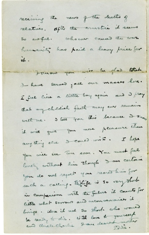Letter from Eamon De Valera to his mother, 28 November 1918, pg4 (UCDA P150/173) Reproduced by kind permission of UCD-OFM Partnership.
