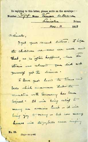 Letter from Eamon De Valera to his wife Sinead on 11 November 1918, pg1 (UCDA P183/57 Private Correspondence of Eamon and Sinead de Valera (c) Used by permission.)