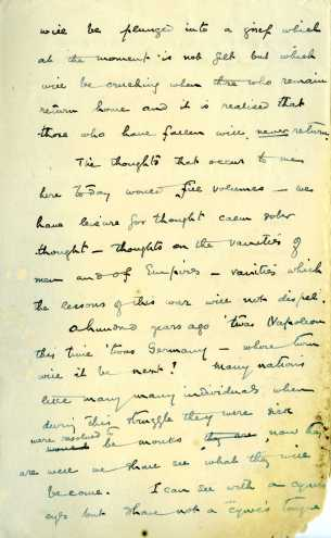 Letter from Eamon De Valera to his wife Sinead on 11 November 1918, pg2 (UCDA P183/57 Private Correspondence of Eamon and Sinead de Valera (c) Used by permission.)