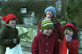 Children selling St. Brigid's Crosses at St. Brigid's Well, Liscannor, Co. Clare in 1983