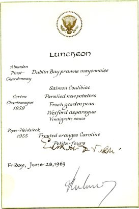 Luncheon menu for John F. Kennedy's visit to Ireland in Jun 1963 (UCDA P205/7)