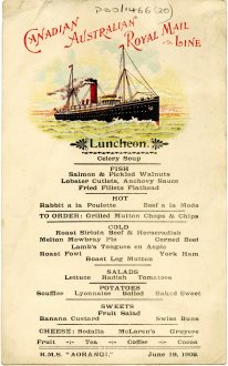 Luncheon menu on board the R.M.S Aorangi, 19 June 1909 (UCDA P80/1466/20)