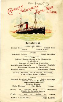 Breakfast menu on board the R.M.S Aorangi, 1 July 1909 (UCDA P80/1466/25)
