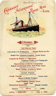 Dinner menu on board the R.M.S Aorangi, 1 July 1909 (UCDA P80/1466/26)