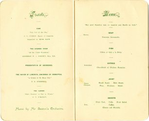 'The Atlantic Flyers' Banquet menu, 5 July 1928 (UCDA P80/456)