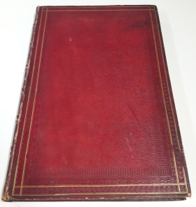 Red morocco binding of the 'Pitture de vasi antichi de la Collection de son Excellence M. le Chevalier Hamilton'.