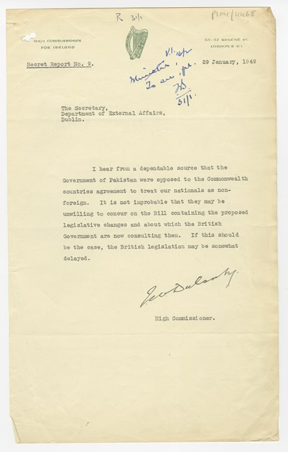 Note from John Dulanty to Frederick Boland