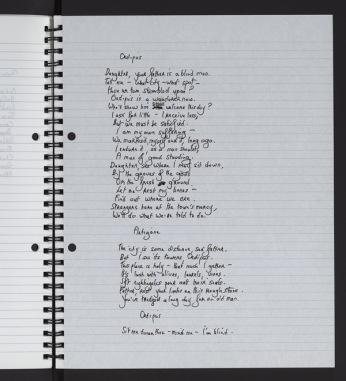 Handwritten page from 'Oedipus' script.