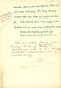Final page of hand written essay. (UCDA P123/6/9)